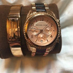 Michael Kors tortoise rose gold watch logo bangle